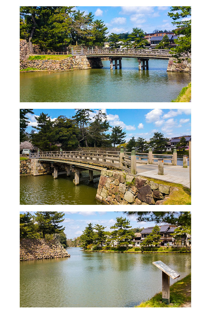 The beautiful moat and bridges around Matsue castle, Japan